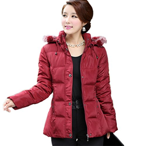 Middle-Aged Mother Dress Big Yards Ladies Winter Coat Down Jacket,Red,5Xl