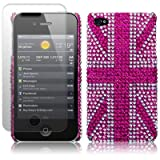 iPhone 4S / iPhone 4 Pink Union Jack Diamante Case / Cover / Shell / Shield + Screen Protector Part Of The Qubits Accessories Rangeby Qubits