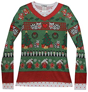 Faux Real Women's Ugly Xmas Sweater with Cats Long Sleeve T-Shirt by Faux Real Womens Child Code
