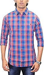 AA' Southbay Men's Maroon & Blue Twill Checks 100% Premium Cotton Long Sleeve Casual Shirt