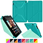 roocase Kindle Fire HD 7 2014 Case, new Kindle Fire HD 7 Origami 3D Slim Shell Case with Sleep / Wake Smart Cover [Supports Landscape, Portrait, Typing Stand] for All-New 2014 Fire HD 7 Tablet (4th Generation), Turquoise Blue / Mint Candy