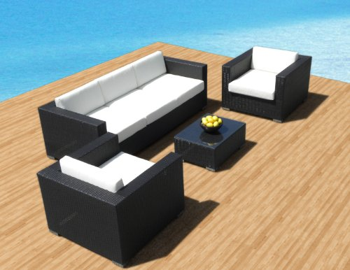 Outdoor Patio Furniture Sofa All-Weather Wicker Sectional 4Pc Resin Couch Set front-661078