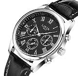 M.O.D.E. 高級仕様 メンズ 腕時計 アナログ ウォッチ クロノグラフ 革ベルト オリジナル収納箱付き (ブラック)