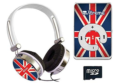 Xtreme 27665 Cuffia Audio UK Flag, Connettore Jack 3,5 mm, Lettore File Audio, Cavo Mini USB e Memoria 8 GB