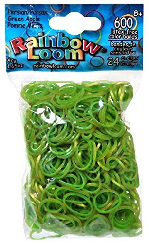 Official Rainbow Loom 600 Ct. Rubber Band Refill Pack PERSIAN GREEN APPLE [Includes 24 C-Clips!] - 1