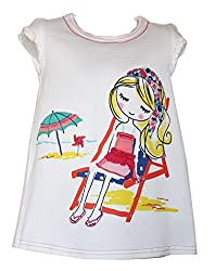 Real Princess Cotton White T-Shirt For Kids-Girls (Age Group: 3-4 Years)