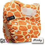 LittleBloom, Reusable Pocket Cloth Nappy, Fastener: Velcro, Set of 1, Pattern 5, Without Insert, Giraffe(Minky)