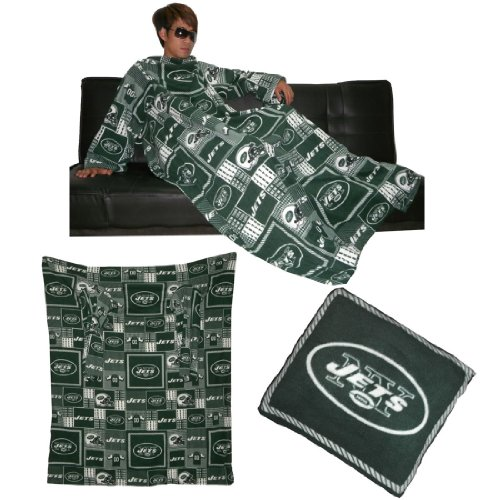 NFL New York Jets 袖が付いている大きいスローブランケットそのソファー枕に折り目 Large Throw Blanket With Sleeves that folds into a Couch Pillow - グリーン&ホワイト Green & White