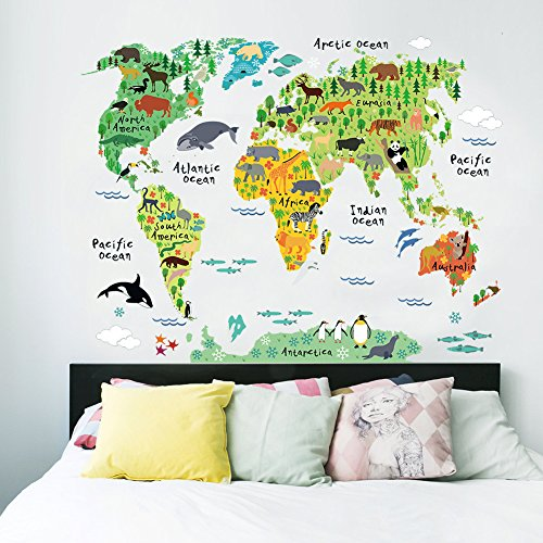 EMIRACLEZE Christmas Gift Holiday Shopping Christmas New Design Animals' World Colorful Map Removable Mural Wall Stickers Wall Decal for Kids Living Room Home Wall Decor (Football Clings compare prices)