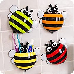 Bee Multi-Purpose Toothpaste Toothbrush holder (1pc only) stationery holder,with Suction cup, Cool fun stuff fancy funky kids tooth brush holders, Stationery organizer, Office Desk Stationery Organizer Multi Colour by Celebration