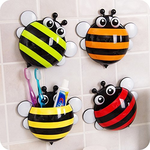 Bee-Multi-Purpose-Toothpaste-Toothbrush-holder-stationery-holderwith-Suction-cup-Cool-fun-stuff-fancy-funky-kids-tooth-brush-holders-Stationery-organizer-Office-Desk-Stationery-Organiser-Multi-Color-b