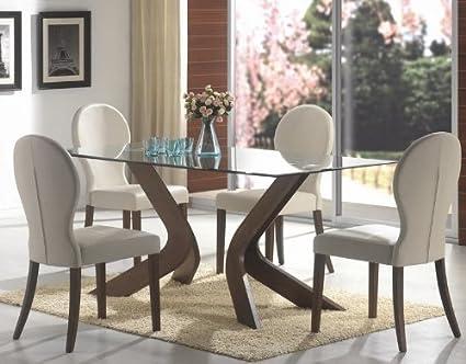 5pc Dining Set Glass Table Top Medium Walnut Finish