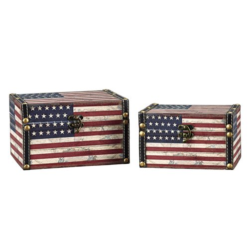 Household Essentials Decorative Storage Box, American Flag Design, Set of 2