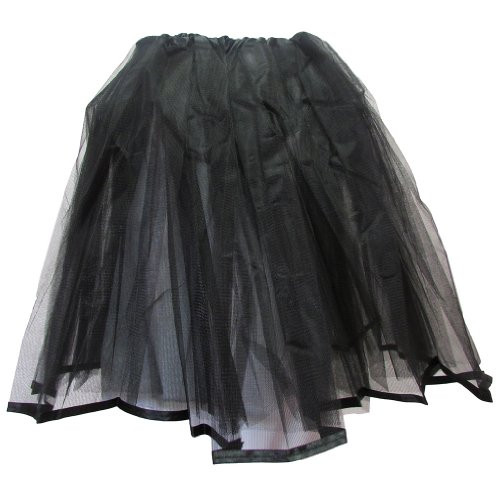 Teen & Adult Ribbon Lined Dance Or Dress Up Tutu (Black) front-927510
