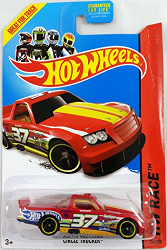 Hot Wheels 2014 Hw Race Thrill Racers Red Circle Trucker 156/250 - 1