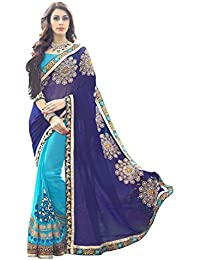 Siddeshwary Fab Georgette Saree (Online Blue1_Sky Blue)