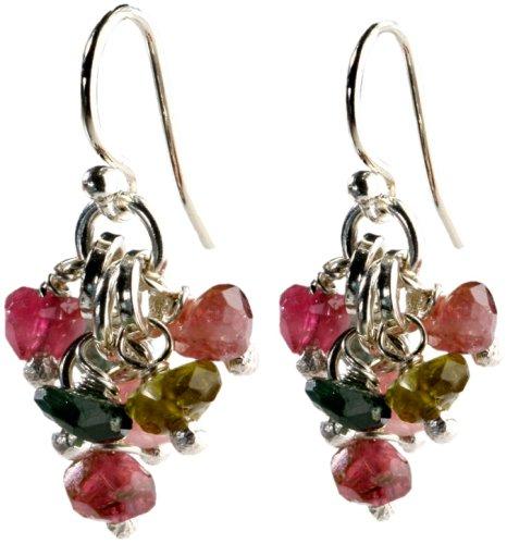Jane Davis DD0024 Silver Faceted Tourmaline Drop Earrings