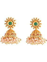 Ganapathy Gems 1Gram Gold Plated Jhumki With Pearl Drops (8560) 8560