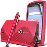 ONX3 Sony Ericsson Xperia Neo / Neo V Hot Pink S line Wave Gel Case Skin Cover + Hot Pink High Capacitive Stylus Pen + LCD Screen Protector Guard