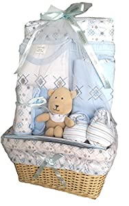 Bee Bo Baby Basket Gift Set 0 - 3 Months - Elephant/ Puppy Dog, Wrap, Bodysuit, Trousers, Bootees, Bib, Wash & Burp Cloths - Pink or Blue