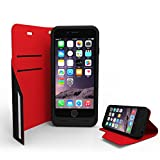 [Apple MFi Certified] Elivebuy® 3400mAh Folio Magnetic Clip Leather Wallet Power Battery Charging Case for iPhone 6 (4.7 inch) w/ Stand Function (Black+Red)