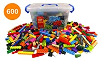Bucket of Building Bricks - 600 PC Bulk Blocks with Roof Pieces - Tight Fit and Compatible with All Brands