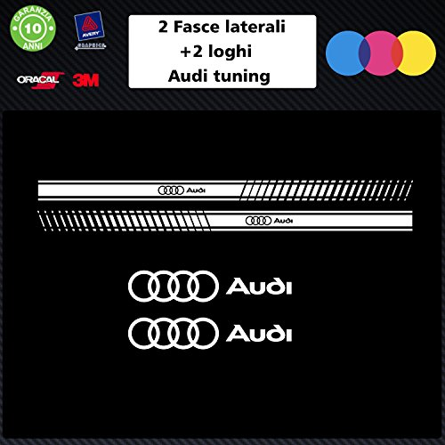 SET-Plage-2-logos-Blanc-AUDI-bandes-autocollantes-stickers-TUNING-auto-accessoires-decal-stickers