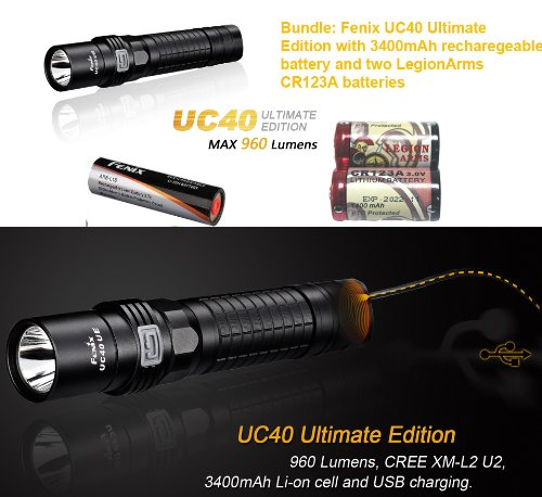 Fenix Uc40 Ultimate Edition (Uc40Ue) Usb Rechargeable 960 Lumen Cree Xm-L2 U2 Led Flashlight With 3400Mah Battery And Two Legionarms Cr123A