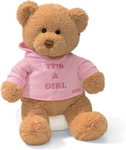 Gund It's A Girl Bear Plush Toy BROWN