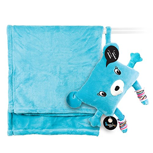 My Friend Huggles DodotoGo, Soft Baby Blanket Stored in a Huggable Pouch, Blue