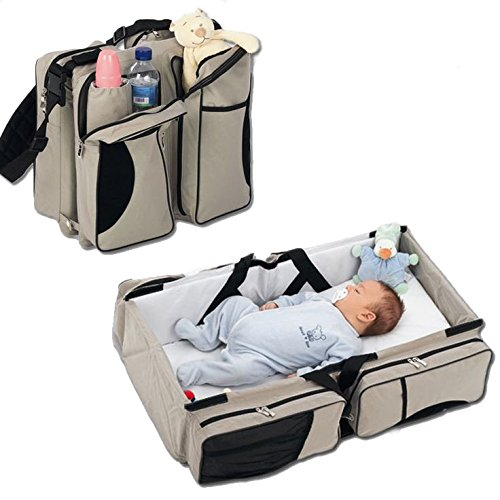 3 in 1 - Diaper Bag - Travel Bassinet - Change Station - (Light Cream) - Multi-purpose #1 Baby Diaper Tote Bag Bed Nappy Infant Carrycot Crib Cot Nursery Portable Change Table Portacrib Boy Girl Top Best Quality Bottle Mom Dad