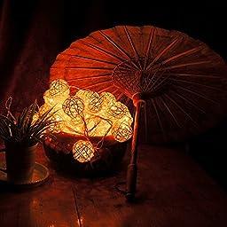 Goodia 2.2M Long 20 LED Fairy Light Curtain Light /4cm Cream White Rattan Ball String Light(Battery Operated)---Ideal for Wedding,Home,Garden,Christmas Party