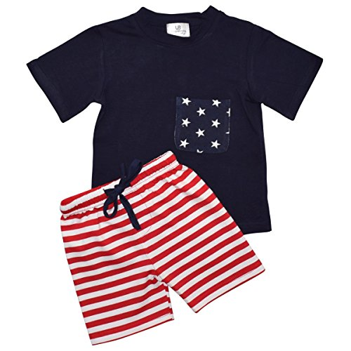 Unique Baby Boys Team USA Patriotic 2016 Olympics 2-Piece Summer Outfit (6, Blue)