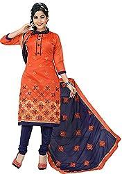 Orange Fab Women's Orange & Blue Embroidery Cotton Dress Material