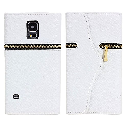 myLife (TM) Angel White - Zipper Design - Koskin Faux Leather (Card, Cash and ID Holder + Magnetic Detachable Closing + Hand Strap) Slim Wallet for NEW Galaxy S5 (5G) Smartphone by Samsung (External Rugged Synthetic Leather With Magnetic Clip + Internal Secure Snap In Hard Rubberized Bumper Holder + Lifetime Warranty + Sealed Inside myLife Authorized Packaging)
