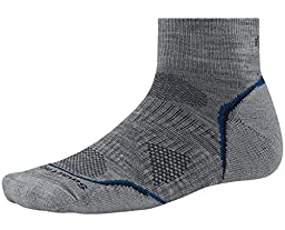 SmartWool Men's PhD Outdoor Light Mini Socks,  Light Gray/Navy, Large