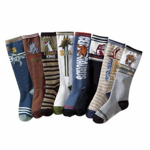 Deer Mum 8 Pairs Boy'S Dinosaur Pattern Style Knee High Socks (Pack 8)(7Y-12Y) front-960845