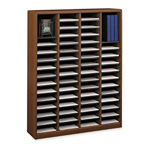 Safco Products E-Z Stor Wood Literature Organizer, 60 Compartments, Cherry, 9331CY