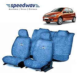 Speedwav Cool Blue Towel Cover(Split Seat) for Tata Indica