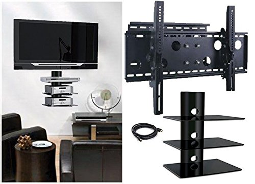 2xhome - NEW TV Wall Mount Bracket (Single Arm) & Three (3) Triple Shelf Package - Secure Low Profile Cantilever LED LCD Plasma Smart 3D WiFi Flat Panel Screen Monitor Moniter Display Large Displays - Long Swing Out Single Arm Extending Extendible Adjusting Adjustable - 3 Tier Under TV Tempered Glass Floating Hanging Shelves Shelving Unit Rack Tower Set Bundle - Full Motion 15 degree degrees Tilt (Sony 39 Inch Tv compare prices)