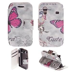 Etui Coque à Clapet Portefeuille avec motif Samsung Galaxy Ace S5830 / GT-5839i - Motif ( Papillon )