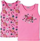 Kinderbutt Unterhemd 2er-Pack mit Druckmotiv Pferd Interlock-Jersey rosa Größe 146 / 152
