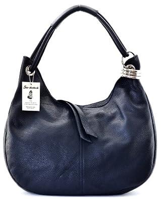 """SAC DESTOCK - Sac à Main CUIR """"Grainé"""" - Réf: LA PAZ / Nouvelle Colllection / Promotion / Handbag Leather (BLEU FONCE)"""