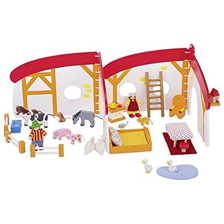 Goki - Maison de poupées, à la ferme en bois