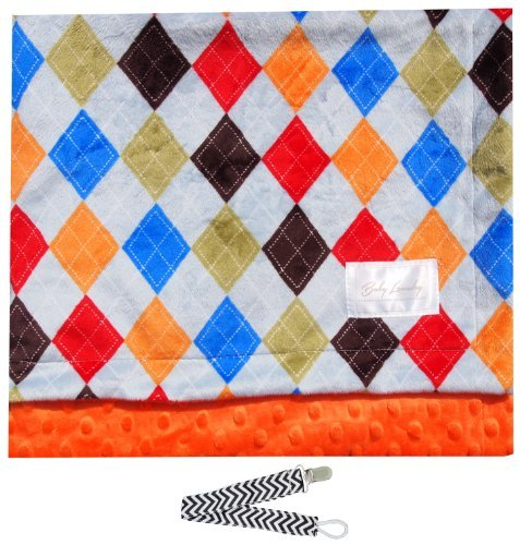 "Baby Laundry 92332 Soft Minky Argyle Orange Baby Blanket 36""x30"" with Pacifier Clip - 1"