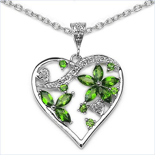 Jewelry-Schmidt-Collier / Necklace Heart Pendant 1.64 carat cubic zirconia, chrome diopside