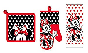 Disney 3 Piece Kitchen Set Minnie Mouse Rock The Dots Towel