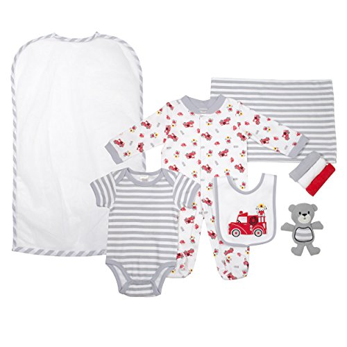 Cutie Pie Baby Boys 9 Piece Layette Gift Set Tulle Bag Red Grey Firetruck 0-3 M