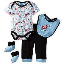 Bon Bebe Baby-Boys Newborn Little Rock Star 4 Piece Pant Set, Blue/Black, 3-6 Months