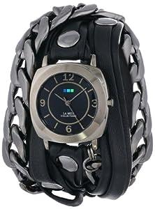 La Mer Collections Women's LMSCW2001 Corsica Black Layer Strap Gunmetal Malibu Chain Odyssey Case Black Dial Watch